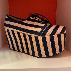 Ego & Greed striped platform shoes